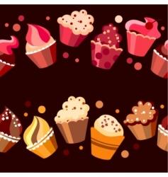 two seamless cupcake borders vector image