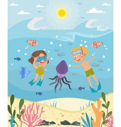 two young kids diving in ocean vector image
