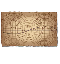 vintage world map on the faded old piece of paper vector image