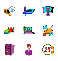 virus icons set cartoon style vector image