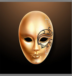 volto golden mask with ornately lace vector image