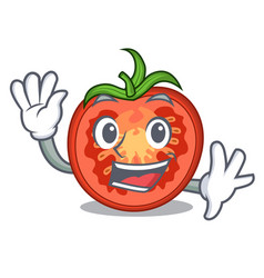 Waving cartoon tomato slices on chopping board vector