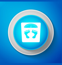 white bathroom scales with footprints icon vector image