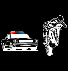 white silhouette police car is chasing a vector image