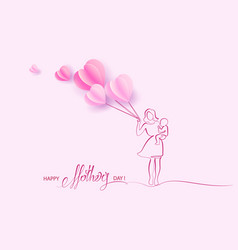 Woman hold her baby with air balloons vector