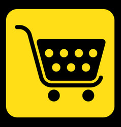 Yellow black information sign shopping cart icon vector