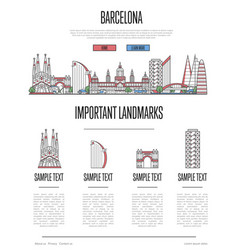 barcelona travel infographics in linear style vector image