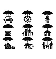 black insurance icons set with umbrella vector image vector image