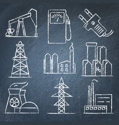 set of energy and electricity hand drawn icons on vector image