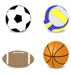 Balls rugby football basketball soccer volleyball vector image vector image