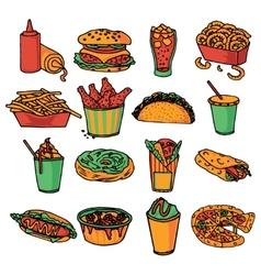 Fast food menu icons set color vector image