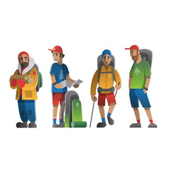 hiking man characters set vector image