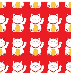 Lucky cat holding golden coin Japanese Maneki Neco vector image