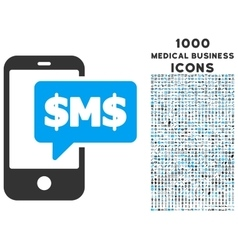Phone SMS Icon with 1000 Medical Business Icons vector image vector image