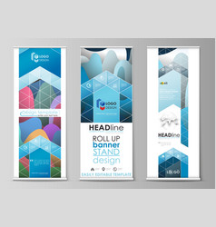 roll up banner stands flat geometric style vector image vector image