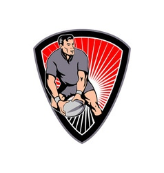 rugby passing ball shield vector image vector image