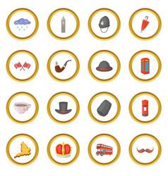 United kingdom travel icons circle vector