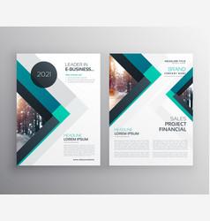 abstract blue business brochure flyer design vector image
