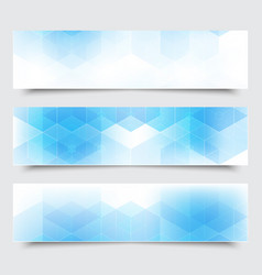 abstract blue horizontal banners with vector image vector image