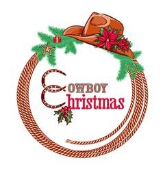 American cowboy Christmas background isolated on vector image vector image