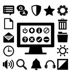 Computer menu icons set eps 10 vector image