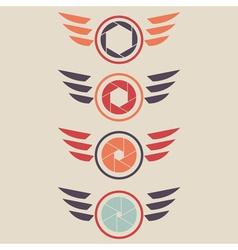 shutter logo set wings vector image vector image