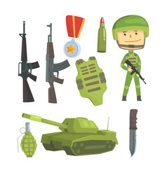soldier and professional army weapon set for vector image