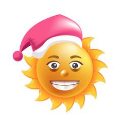 sun smile santa hat cartoon emoticon summer vector image vector image