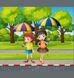 two girls with umbrella in the rain vector image
