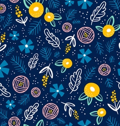 Floral doodle pattern on blue vector image vector image