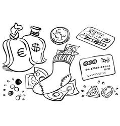 hand drawn Money art vector image