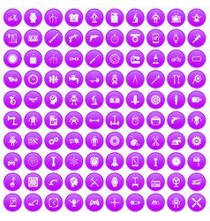 100 gear icons set purple vector