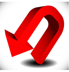 3d red curved arrow with shadow pointing backward vector