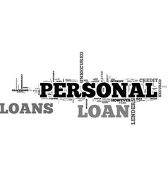 a beginners guide to personal loans text word vector image