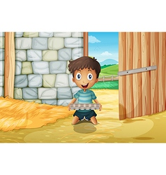 A boy holding an empty egg tray inside the vector image