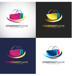 abstract 3d shopping logo template for your vector image
