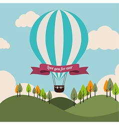 Air balloon over landscape background vector