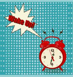 alarm clock in pop art style vector image