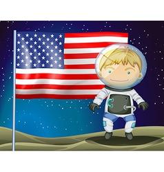 An explorer beside the flag of America vector