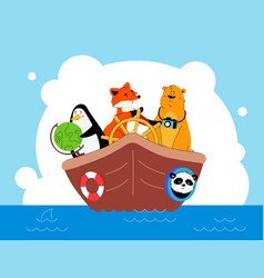 animals traveling together flat design style vector image