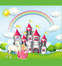 Background scene with princess and unicorn at vector