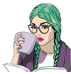 Beautiful girl with sunglasses and coffee cup vector
