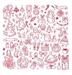 big set christmas design doodle elements 5 vector image