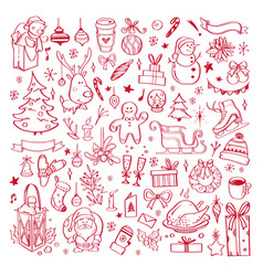 big set of christmas design doodle elements 5 vector image