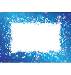 blue abstract musical background with notes vector image