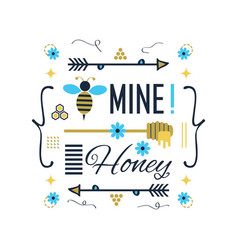 blue and golden cute bee mine honey message card vector image