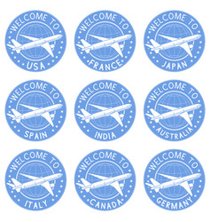 blue tourist stamps welcome signs with airplane vector image