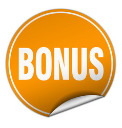 Bonus round orange sticker isolated on white vector