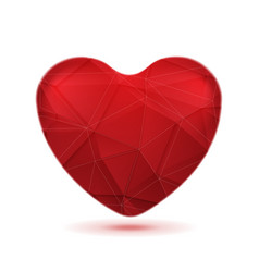 Bright red polygonal heart background vector image