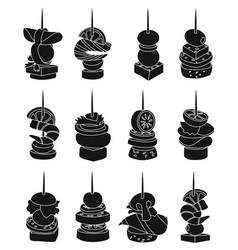Canape appetizer black on vector